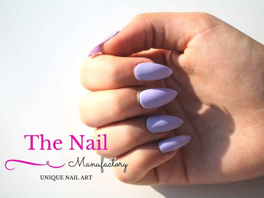 Light Purple Fake Nails - Matte False Nails - available as Stiletto ...