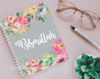 A5 Islamic Notebook -Bismillah - Grey with pink floral