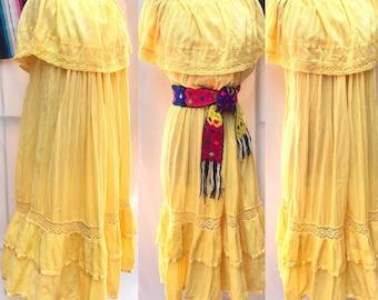 Flowing Gauze Dress, Crochet Lace, Muumuu, Caftan Bohemian Hippie Boho Mexico