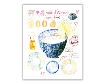 Love cake recipe watercolor illustration print, Kitchen art, Bakery art, Blue kitchen decor, Romantic wall art, Food poster, Girlfriend gift
