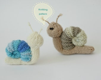 Snail toy knitting pattern, knitted snail PDF pattern, instant download