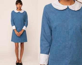 Peter Pan Dress 60s Mod Mini Dress COLLAR Blue 1960s Lolita Vintage Sixties Shift Long Sleeve Dolly Twiggy Minidress Gogo Small Medium