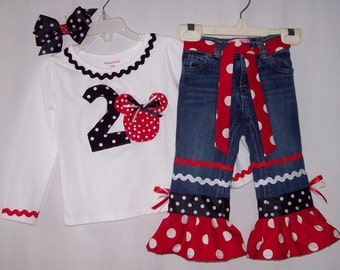 Custom boutique Disney Minnie Mouse Happy Birthday jeans outfit all sizes available
