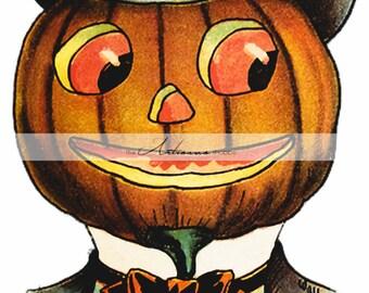 Printable Art Instant Download - Pumpkin Jack O'lantern Vintage Antique Halloween Art Image - Paper Crafts Scrapbook Altered Art