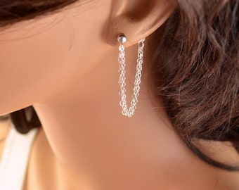 Sterling Silver Chain Earrings, Silver Jewelry for Her, Delicate and Pretty, Gift for Women, Women's Jewelry, Free Shipping