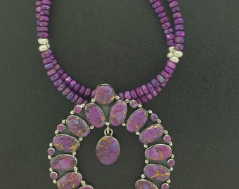 20 inches Sterling Silver purple turquoise Necklace  with Naja pendant