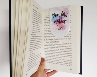 Laminated Magnetic Bookmarks for Books | Book Accessories | Book Lover Gift | You Fell Asleep Here | Quotes Bookmark | Bibliophile Gift