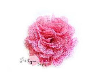 "Large Light Pink Burlap Flowers- 3"" Burlap Flower- You Choose Quantity- Fabric Flower- Flowers- Burlap Flower- Puff Flowers"