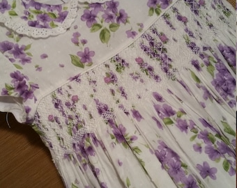 Free Shipping - Little girl vintage smocked dress, adorned with purple Liaic flowers,