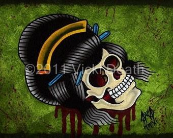 Geisha Skull Original Tattoo Art