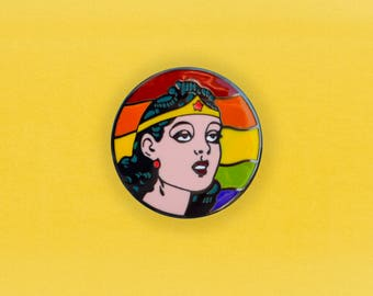 Wonder Woman PRIDE rainbow Enamel Pin - Retro comic book lapel pin