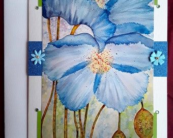Blue Poppies blank card