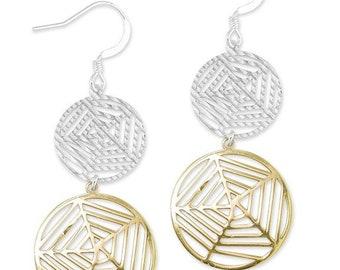 Sterling Silver Spider Cobweb Fashion Dangle Earrings