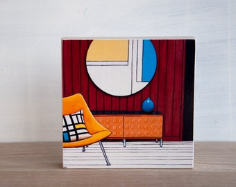 Midcentury Chair Art Block - 'Mondrian Room'
