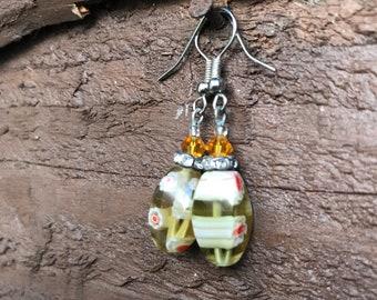 Glass & Silver Drop Earings