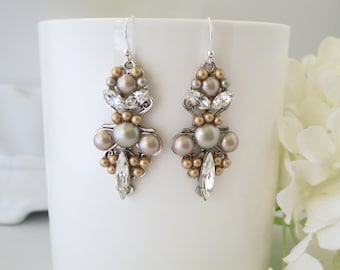 Champagne wedding earrings, Taupe bridal earrings, Swarovski crystal chandelier, Unique pearl earrings, Mother of bride earring