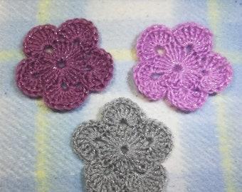 Crochet motif set of 3 flowers, Crochet flower appliques, pink, liliac, gray, crochet flower set, scrapbooking, cardmaking, crocheted flower