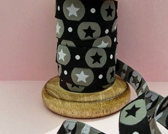 Ribbon star pattern black, Ribbon farbenmix Ribbon fancy 12mm by the yard