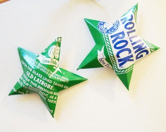 Rolling Rock Extra Pale Ale Beer Stars Christmas Ornaments Aluminum Can Upcycled