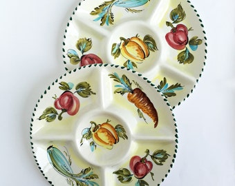 Mid Century pair of  hand painted  dishes-  italian pottery