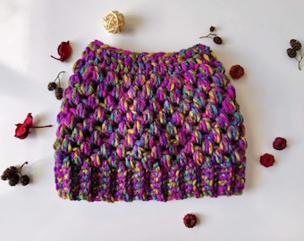 Crochet messy bun hat, Top knot beanie, Purple messy bun hat, Colorful hat, Womens hat, Pony tail hat, Bun hat.