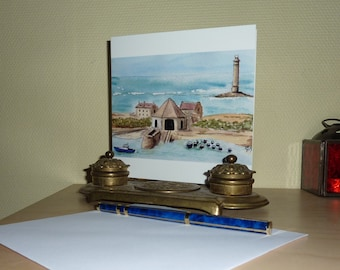 Print of lighthouse postcard-France-Normandy-Landscape Watercolor Painting