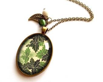 Necklace * paper Japanese forest * vintage forest green fern, black and bronze leaf motifs