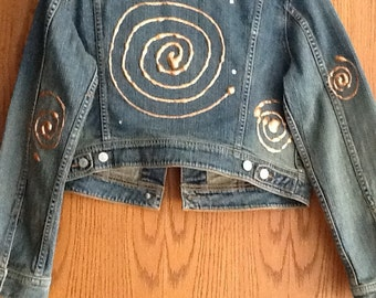 Unique Artistic One of a Kind Hand Embellished and Painted Jean Jacket