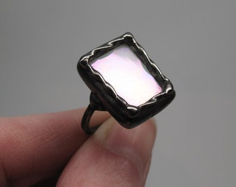 Moonlight Sonata - Sterling Silver Stained Glass Ring - Size 7.5
