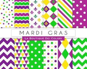 Mardi Gras Digital Paper. Cute Carnival, fleur de lis, Diamond pattern, Fat Tuesday  Background, Festive Scrapbook Papers for Commercial Use