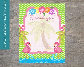 Flamingo thank you card printable and digital file | Waves Pink Lime Green Make a splash Birthday Party