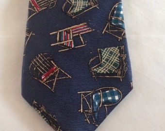Vintage Franco Baretta Necktie/ Chairs/ Navy Blue/ 100% Silk
