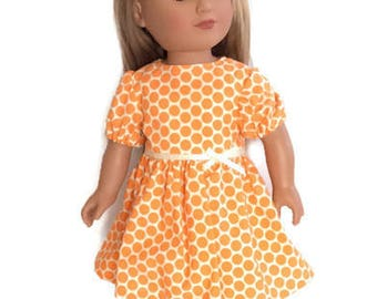 18 Inch Doll Dress, Orange Polka Dot Doll Dress, Orange Doll Dress, Summer Doll Clothes