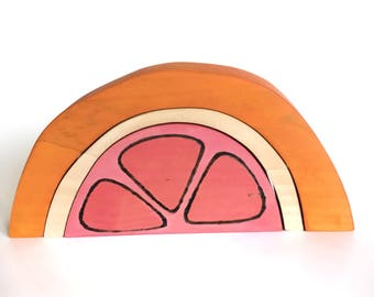 Grapefruit Blocks Wood Toy Stacker
