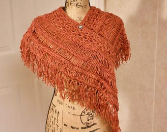 Earthy Orange Fringe Shawl: Handmade