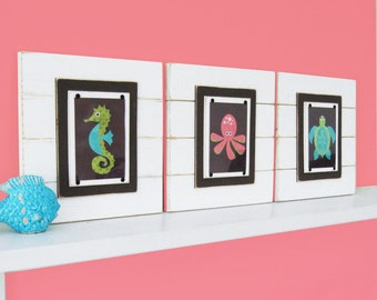 Set of 3 Kids Framed Wall Art Set of 3 with Sea Animal Graphic Prints