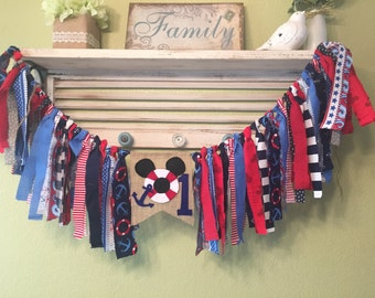 Rag Garland Banner Highchair Banner -  Nautical Mickey Mouse Colors Red Navy Blue White Bunting