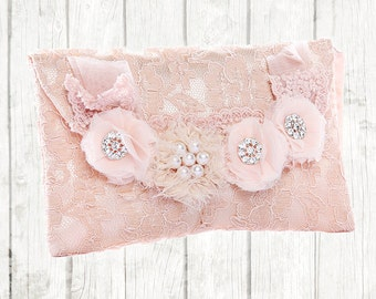 Clutch bag - clutch purse - lace purse - pink lace bag - wedding gift - fashion accessory - evening bag - handbag - pink lace and satin
