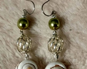 Olivine Pearl Shell Earrings, Silver Plated Cage Bead Connector, Dangle, Ear Wires, Shell Earrings, Caged Connectors, Unique Style
