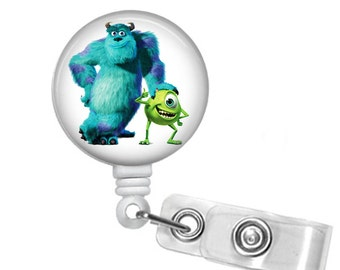 Monsters Inc Badge reel, ID Badge holder, retractable badge reel,