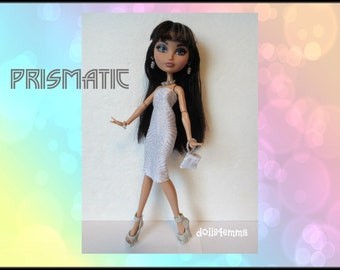 Ever After High Doll Clothes - Prismatic Dress, Purse and Jewelry Set - Handmade Fashion by dolls4emma