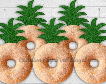 Set of 12 Glitter Pineapple Donut Toppers, Pineapple Top Doughnut Toppers, Pineapple Party Decor, Aloha or Hawaiian Party