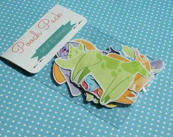 Pooch Pack - Set of 20 Dog Stickers - Dog Sticker Pack - Dog Stickers - Handmade Stickers - Hand Drawn Stickers - Cute Dogs