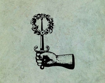 Hand Holding Dagger with Wreath - Antique Style Clear Stamp