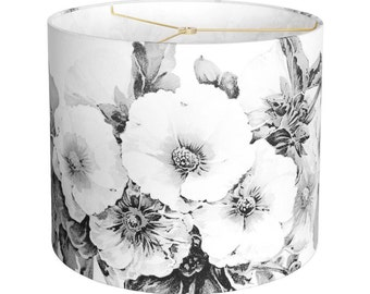 MEDIUM Linen Paris Nights Hollyhock Lamp Shade - Black and White Flower Lampshade - 10 11 12 Inch Custom Made to Order