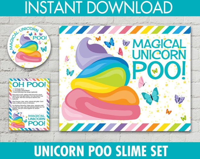 "Unicorn Poo Set - Poo 2.5"" Jar Labels, 8.5""x10"" Sign, Editable Poo Recipe Cards, Unicorn Slime Set | INSTANT Download PDF - Printables"