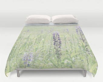 Floral Duvet Cover-Twin Duvet Cover-Long Twin Duvet-Full Fuvet Cover-Queen Duvet Cover-Wildflowers Duvet Cover-Lupine Flowers Duvet Cover