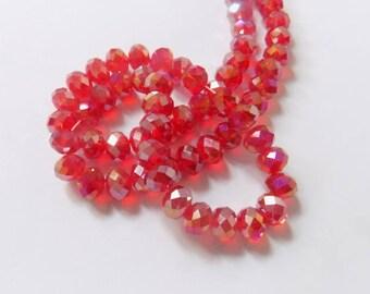 20 4mmx6mm glass facet beads transparent red highlights