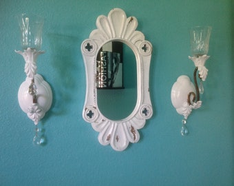 Shabby chic wall sconces, white, pair