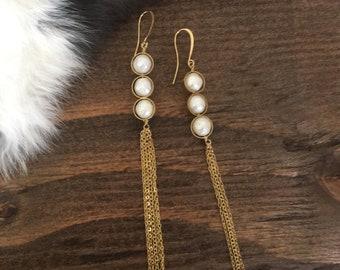 Pearl and Chain Fringe Earrings